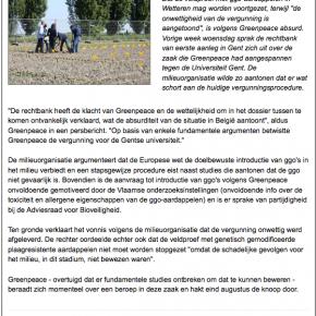 le Tribunal de Gand reconnait l'illégalité de l'essai en champ de Wetteren !